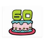 Torta de cumpleaños de 60 años tarjeta postal