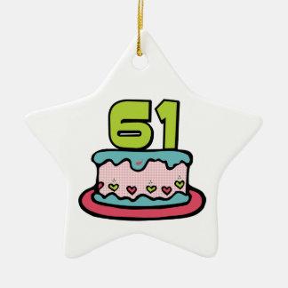 Torta de cumpleaños de 61 años ornamento para arbol de navidad