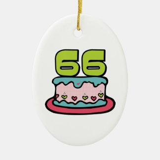 Torta de cumpleaños de 66 años ornamentos de navidad