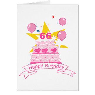 Torta de cumpleaños de 66 años tarjeta de felicitación