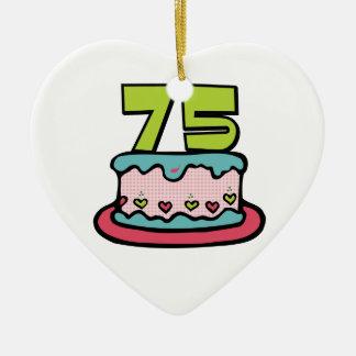 Torta de cumpleaños de 75 años ornamento de navidad