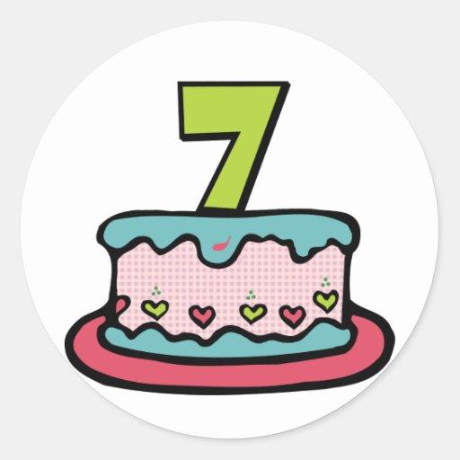Torta de cumpleaños de 7 años pegatina redonda