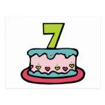 Torta de cumpleaños de 7 años tarjetas postales