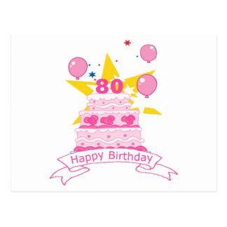 Torta de cumpleaños de 80 años postal