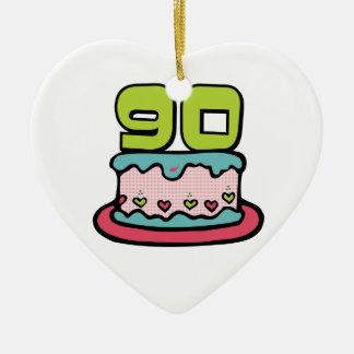 Torta de cumpleaños de 90 años adorno de cerámica en forma de corazón