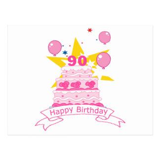 Torta de cumpleaños de 90 años tarjetas postales