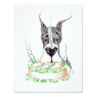 Torta de cumpleaños de great dane Merle Invitación 10,8 X 13,9 Cm