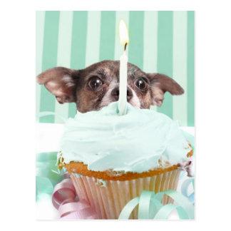 Torta de cumpleaños de la chihuahua postal