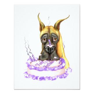 Torta de cumpleaños del cervatillo de great dane invitación 10,8 x 13,9 cm