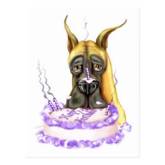 Torta de cumpleaños del cervatillo de great dane postal