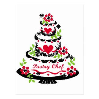 Torta de cumpleaños del chef de repostería tarjetas postales
