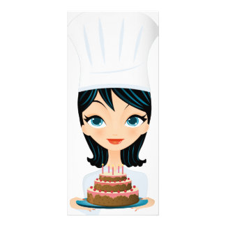 Torta de cumpleaños del cocinero de la mujer plantillas de lonas