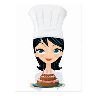 Torta de cumpleaños del cocinero de la mujer postal