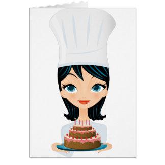 Torta de cumpleaños del cocinero de la mujer tarjeta de felicitación