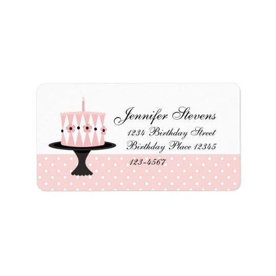 Torta de cumpleaños floral rosada etiquetas de dirección