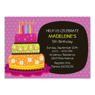 Torta de cumpleaños grande para el chica del invitacion personalizada