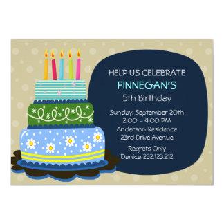 Torta de cumpleaños grande para el muchacho del invitación 11,4 x 15,8 cm