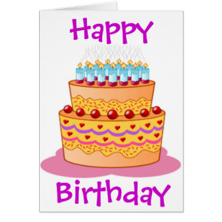 Torta de cumpleaños grande tarjeta de felicitación