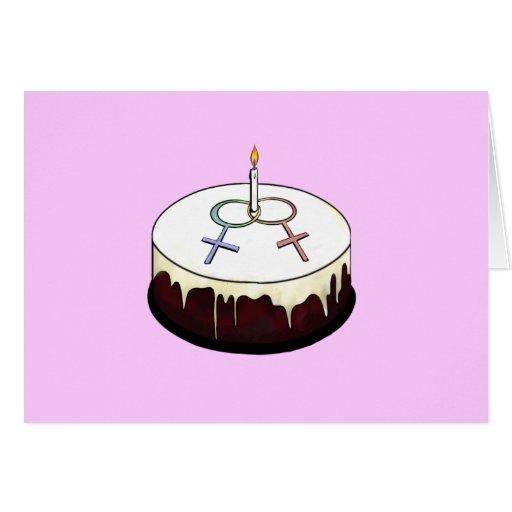 Torta de cumpleaños lesbiana tarjeta