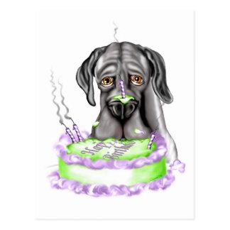 Torta de cumpleaños negra de great dane UC Postal