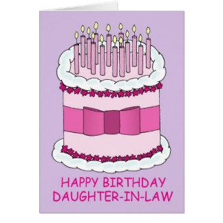 Torta de cumpleaños, nuera tarjeta de felicitación
