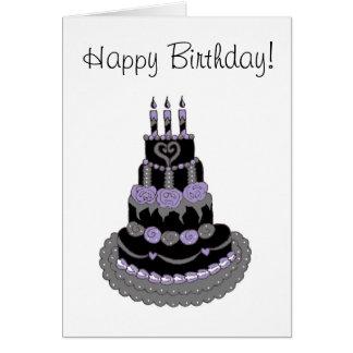 Torta de cumpleaños púrpura gótica del feliz cumpl tarjeton