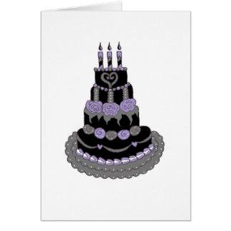 Torta de cumpleaños púrpura gótica tarjetón
