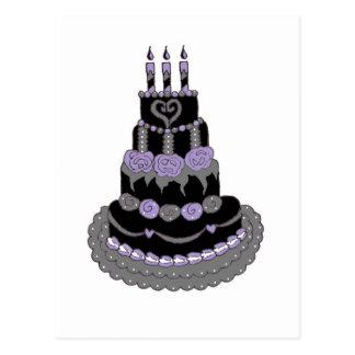 Torta de cumpleaños púrpura gótica postal