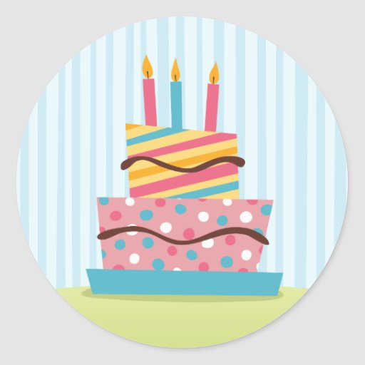 Torta de cumpleaños retra con las velas encendidas pegatina redonda