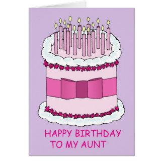 Torta de cumpleaños rosada de la tía tarjeta de felicitación