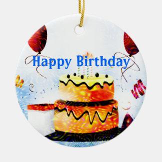 Torta de cumpleaños y fiesta de los globos en azul adornos