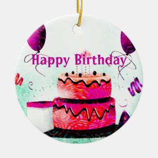 Torta de cumpleaños y fiesta de los globos en rosa ornaments para arbol de navidad