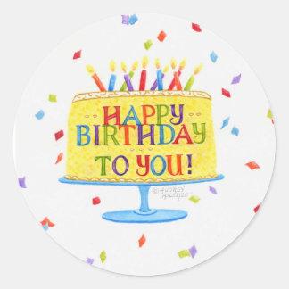Torta de los pegatinas del cumpleaños feliz pegatina redonda