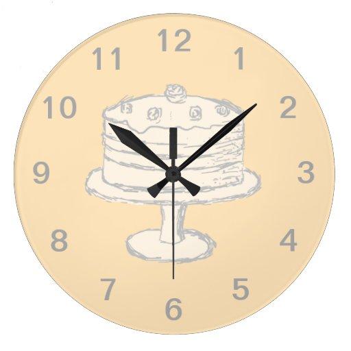 Torta del color crema en fondo beige reloj de pared zazzle - Reloj de pared diseno ...