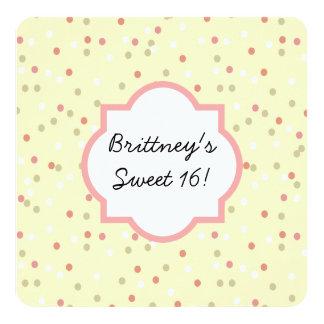 Torta del confeti  • El helar amarillo de Invitación 13,3 Cm X 13,3cm
