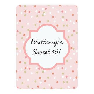 Torta del confeti • El helar rosado de Buttercream Invitación 13,9 X 19,0 Cm