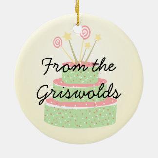 Torta del confeti • Torta de cumpleaños verde Adorno Redondo De Cerámica