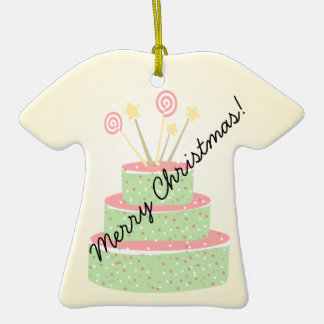 Torta del confeti • Torta de cumpleaños verde Adorno De Cerámica En Forma De Camiseta