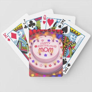 Torta del cumpleaños de la mamá baraja cartas de poker