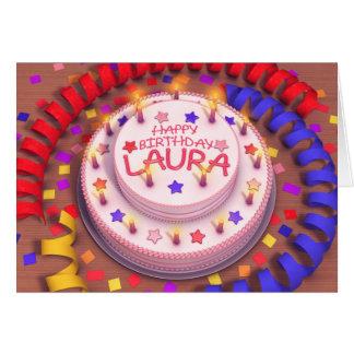 Torta del cumpleaños de Laura Tarjeta De Felicitación