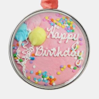 Torta del feliz cumpleaños adorno redondo plateado
