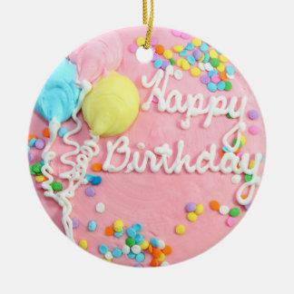Torta del feliz cumpleaños adorno redondo de cerámica