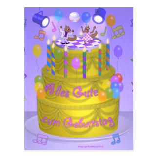 "Torta del ""feliz cumpleaños"" (alemana) tarjetas postales"