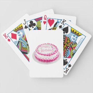 Torta del feliz cumpleaños con helar rosado baraja de cartas bicycle