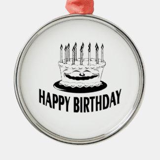 Torta del feliz cumpleaños con las velas ornamento de reyes magos