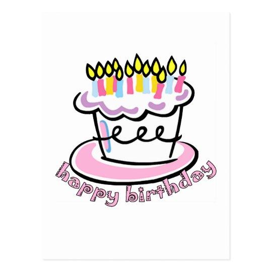 Torta del feliz cumpleaños postal
