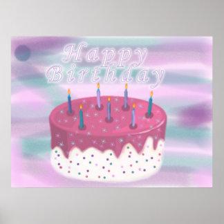 Torta del feliz cumpleaños póster