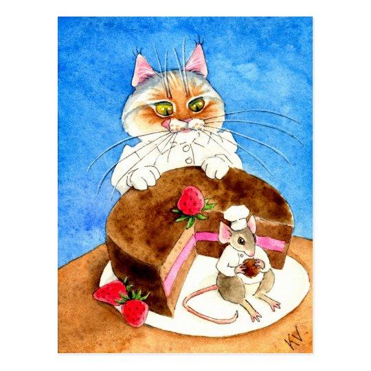 Torta del ratón del chocolate postal