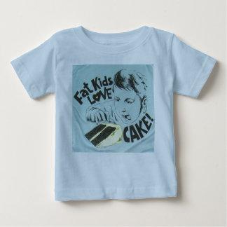 Torta gorda del amor de los niños camiseta de bebé