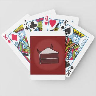 Torta roja del diablo del terciopelo baraja cartas de poker